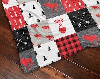 Wild At Heart Throw Blanket, Rustic Decor, Lumberjack Blanket, Little Man Blanket, Cabin Throw, Cozy Throw, Wilderness, Tribal, Patchwork