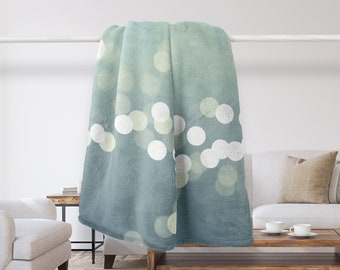 Bokeh Blanket, Aqua, Teal, Blue, Throw Blanket, For Her, Home Decor, Ocean, Tropical Decor, Bedroom, Throws, Modern, Bokeh Circles, Fleece