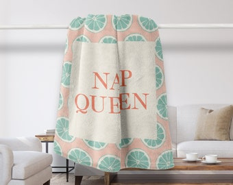 Nap Queen Throw Blanket, Gift For Her, Fashion, Girls, Shabby Chic, Stylish, Tropical Decor, Quote Blanket, Bedroom Decor, Modern, Pastels