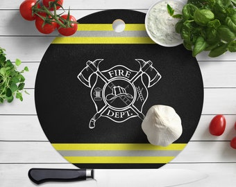 Firefighter Maltese Cross, Wood Cutting Board, Fireman, Fire Dept, Serving Board, Kitchen, Fireman Home, Firefighter Gift, Food and Drink
