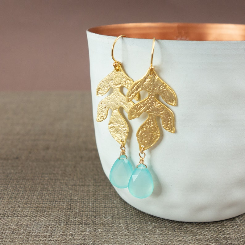 Tropez long hanging earrings gold Statement earrings with drops in light blue St Chalcedon Aqua Gift Christmas Wife Wife