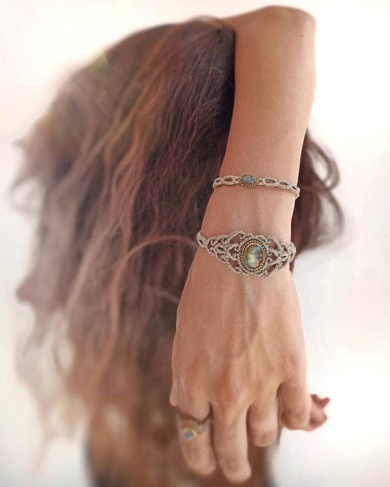 Boho Macrame Stone Bracelet  Labradorite Bracelet  Spiritual image 0