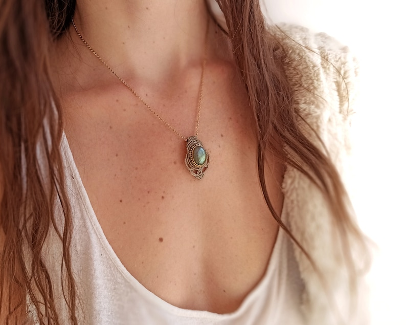 Labradorite necklace gold stainless steel chain  Macrame image 0
