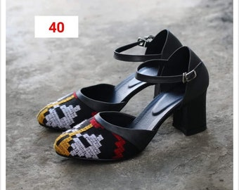 35e39b6f948 Ethnic Indonesia Traditional Tenun Nusantara Combination leather High Heels  Pumps Platform women shoes