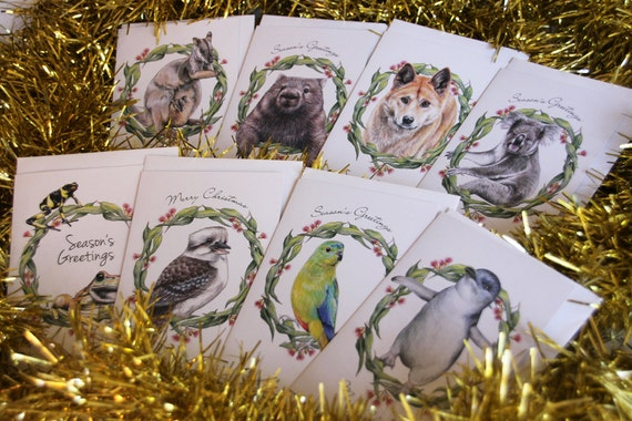 Wildlife Christmas Cards.Australian Christmas Cards Pack Of 8 Wildlife In A Gum Leaf Wreath Animals Birds Merry Christmas Seasons Greetings Blank Inside
