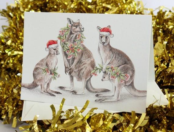 Australische Weihnachtskarte mit Känguru-Familie Eucalypt Gum | Etsy