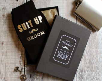 Suit Up Cold Feet Socks, Wedding Gift for my Groom