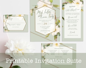 Boho Floral Printable Wedding Invitation Suite