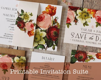 Modern Botanical Printable Wedding Invitation Suite