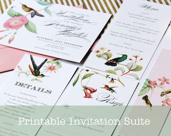 Hummingbird Printable Wedding Invitation Suite