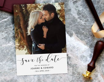 Modern Photo Save the Date Cards, elegant calligraphy script