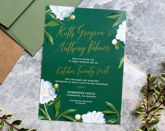 Irish Green and White Floral Wedding Invitation, stylish elegant modern design