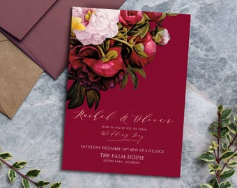 Marsala Rose Wedding Invitation, stylish elegant traditional design