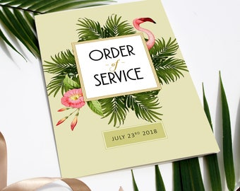 Flamingo Palm Wedding Order of Service, Wedding Program, tropical green wedding