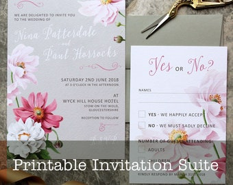 Pink & Grey Printable Wedding Invitation Suite