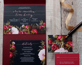 Navy Peony Wedding Suite, with RSVP, Details card and pocketfold option