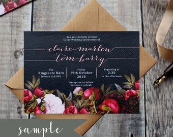 SAMPLE Navy Peony Wedding Suite