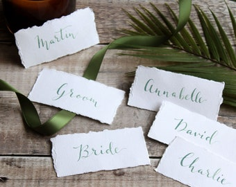 Green Calligraphy Hand Torn Placecards