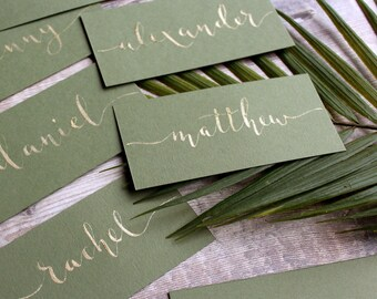 Olive and Gold Calligraphy Wedding Placecards