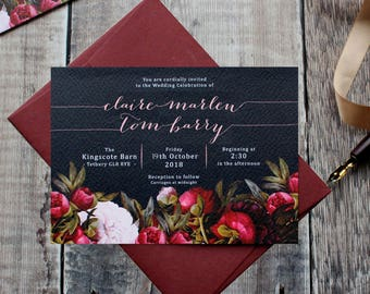 Dark Boho Wedding Invitation, Navy Marsala Moody Fall Stationery