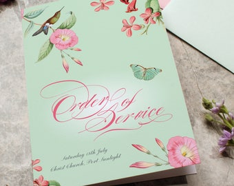 Hummingbird Wedding Order of Service, Wedding Program, tropical pink and mint wedding