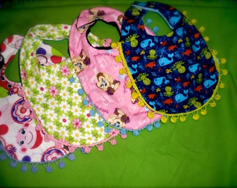 REVERSIBLE BABY BIBS for Him or Her