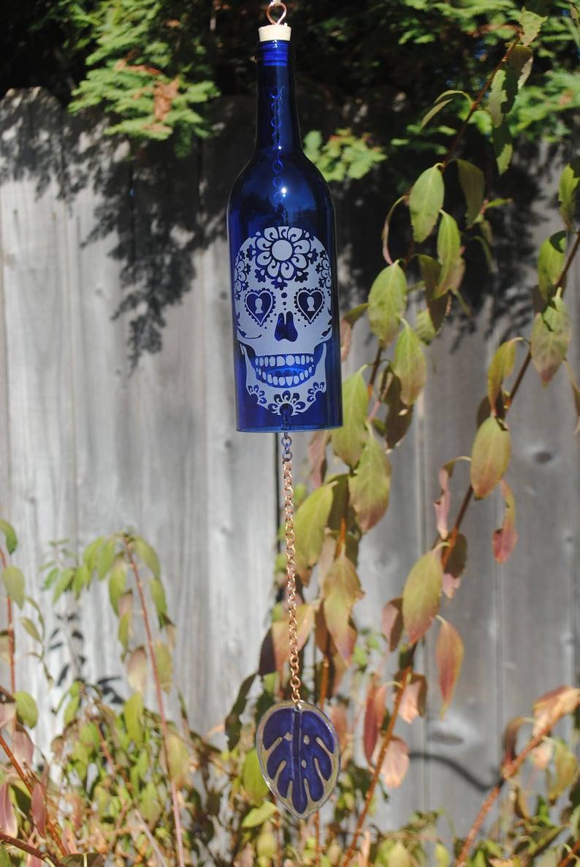 Glass Garden Art Rememberance Wine Decor Upcycle Sugar Skull Day of the Dead Dia De Los Muertos Lacy Skull Wine Bottle Windchime