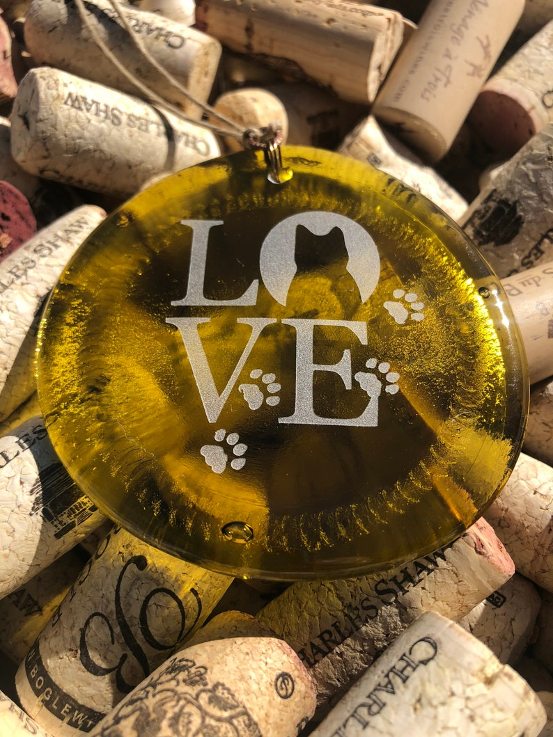 Melted Bottle Bottom Christmas Yellow Cat Love Recycled Wine Bottle Sun Catcher Ornament Charm Upcycle Recycle Pendent
