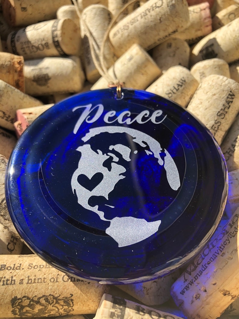 Melted Wine Bottle Upcycle Recycle Charm Christmas Pendent Blue Peace Earth Heart Recycled Wine Bottle Sun Catcher Ornament