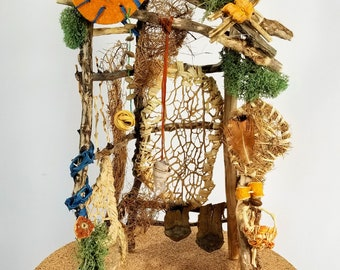 Fairy Craft Den, miniature, twig, handmade, natural, gift, woodland, rustic, one of a kind, whimsey, home decor,