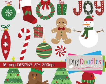 Holiday Christmas Clip Art Collection Snowman Tree Joy Gingerbread Digital Clip Art Design Clipart Commercial Use PNG Vector Graphics Images