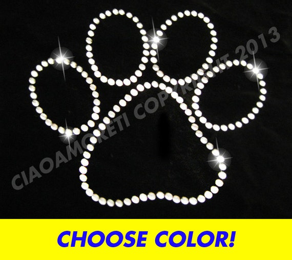 choose color Set of 12 small paws and bones rhinestone iron on transfer