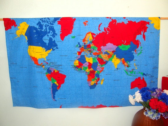 World Map Wall Hanging - Countries, capitals, oceans - Students, school,  old folks, science, geography - almost 5\' wide