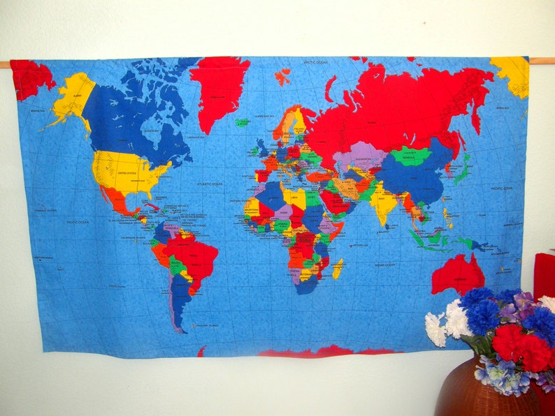 World Map Wall Hanging Countries capitals oceans   Etsy