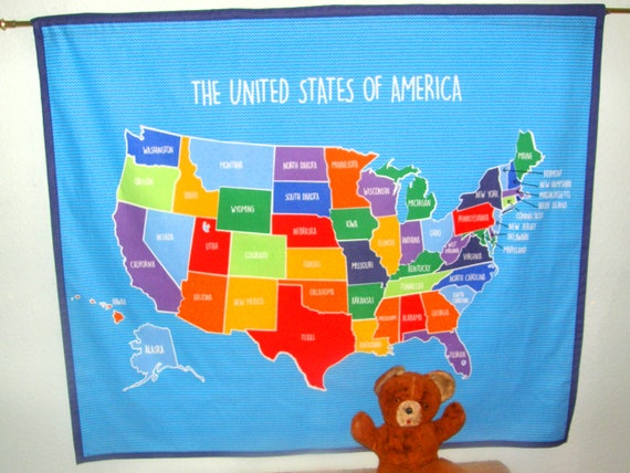 United States US Cloth Map Wall Hanging or Table Cloth - Kids, School,  Retirees, Teachers, Gift for School