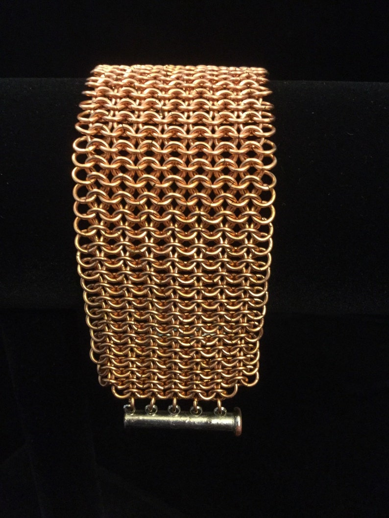 handmade copper chainmaille bracelet, Copper chain mail cuff bracelet wide mesh cuff bracelet