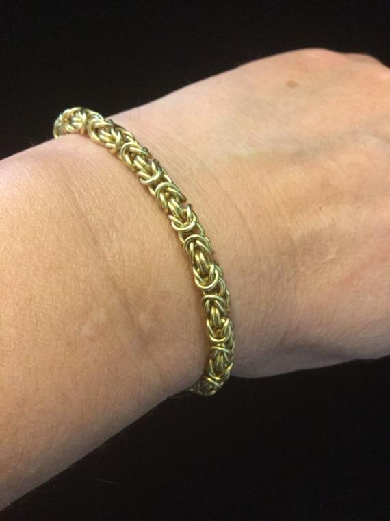 Gold Chain Bracelet Gold Chain Link Bracelet Chainmaille Custom Gold Plated Chain Bracelet Handmade Gold Bracelet Magnetic Fastening