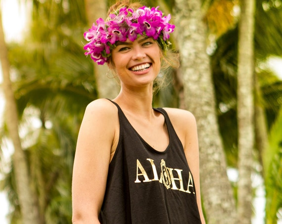 Black & Gold Aloha Crop Tank