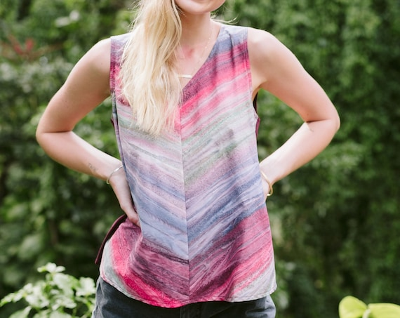 Woven Rainbow Stripes V-Neck Chevron Shell Top / Choose Your Jersey Color!