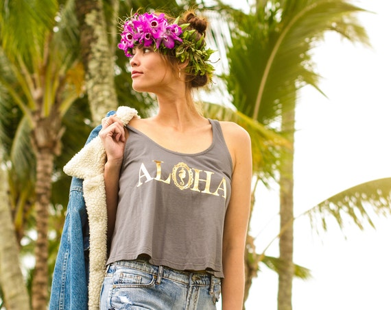 Pebble Gray & Gold Aloha Crop Tank
