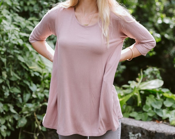 Kaya Swing Tunic / Flowy Top / Sage Green / Burgundy / Mauve / Black / Navy / Heather Gray / Leggings Top / Fall Fashion / Women's Fashion