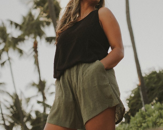 High Waist Flowy Shorts with Pockets / Crinkle Swiss Dot Rayon / Olive Green / Black