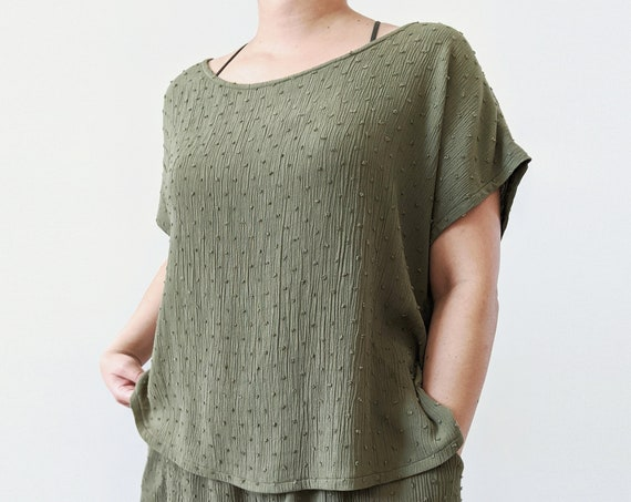 Crinkle Swiss Dot Rayon Wide Neck or One Shoulder High-Low Blouse / Olive Green / Black / Crop Top or Tunic