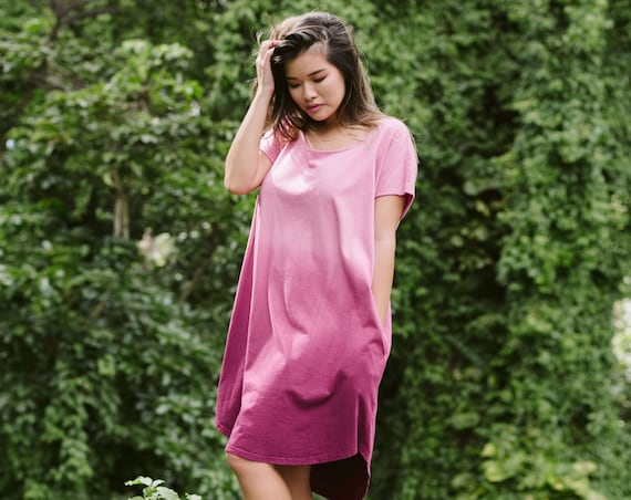 Ombre Tulip Hem TShirt Dress with Pockets / Organic Cotton Collection