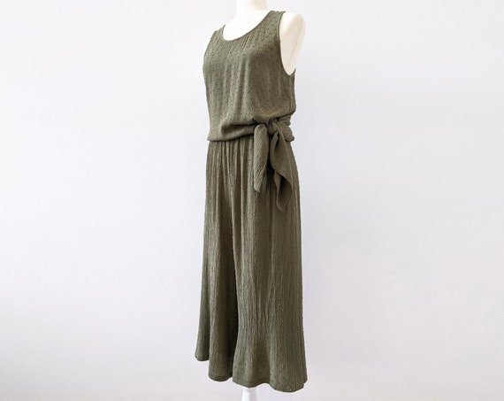 High Waist Culottes with Pockets / Crinkle Swiss Dot Rayon / Olive Green / Black