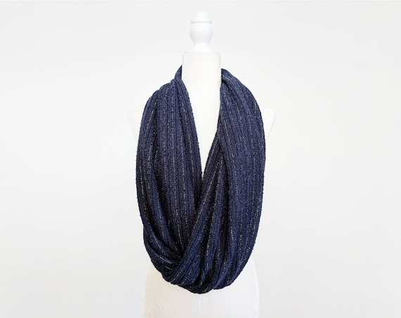 Sparkle Sweater Knit Infinity Scarf / Navy Silver Stripe or Gunmetal Silver