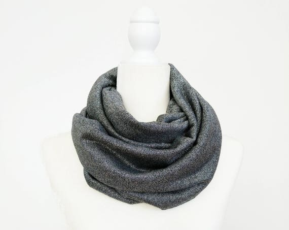 Sparkle Sweater Knit Infinity Scarf / Gunmetal Silver or Navy Silver Stripe