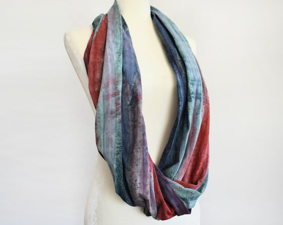 Rainbow Stripes Hand Dyed Jersey Infinity Scarf / Blueberry Stripes