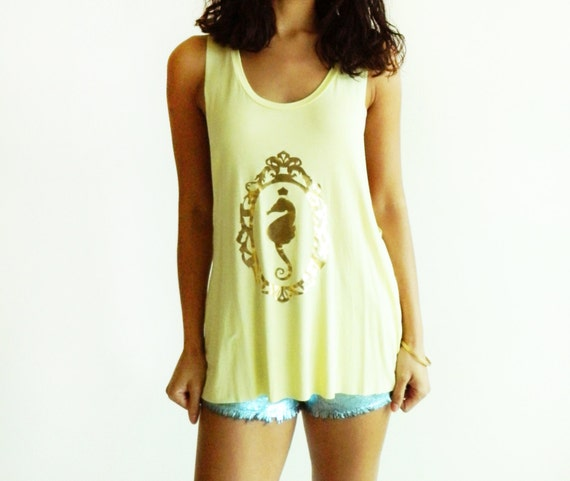 Seahorse Cameo Muscle Tank / Butter Yellow with Gold Foil