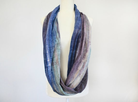 Blueberry Stripes Hand Dyed Jersey Infinity Scarf / Rainbow Stripes